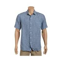 Men's Tommy Bahama Check Stamos Short Sleeve Button Down Shirt Bering Blue