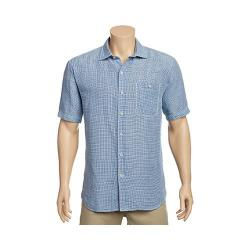 Men's Tommy Bahama Sand Linen Check Short Sleeve Button Down Shirt Bering Blue