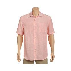 Men's Tommy Bahama Sand Linen Check Short Sleeve Button Down Shirt California Poppy