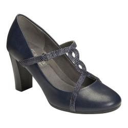 Women's A2 by Aerosoles Lone Star T-Strap Heel Navy Combo Faux Leather