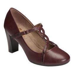 Women's A2 by Aerosoles Lone Star T-Strap Heel Wine Combo Faux Leather
