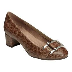 Women's A2 by Aerosoles Sketch Pad Heel Brown Snake Printed Faux Leather