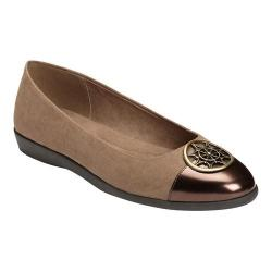 Women's A2 by Aerosoles Trend Book Flat Taupe Combo Faux Suede/Faux Patent Leather