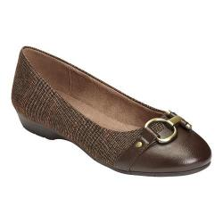 Women's A2 by Aerosoles Ultrabrite Flat Brown Combo Plaid Fabric/Faux Leather
