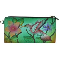 Women's ANNA by Anuschka Leather Credit Card Organizer/Wallet 1713 Birds in Paradise Green