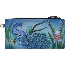 Women's ANNA by Anuschka Leather Credit Card Organizer/Wallet 1713 Midnight Peacock Grey