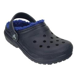 Children's Crocs Classic Fuzz Lined Clog Kids Navy/Cerulean Blue