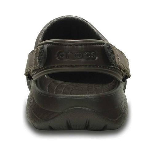 nowy wygląd najlepsza strona internetowa kod promocyjny Men's Crocs Swiftwater Leather Camp Clog Espresso/Black | Overstock.com  Shopping - The Best Deals on Slip-ons