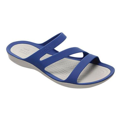 4a3cf9b5d1745 Shop Women s Crocs Swiftwater Slide Sandal Blue Jean Pearl White - Free  Shipping On Orders Over  45 - Overstock - 17264735