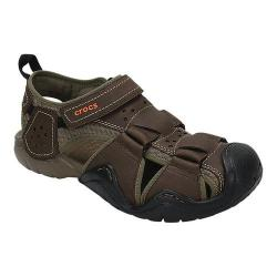 Men's Crocs Swiftwater Leather Fisherman Sandal Espresso/Walnut