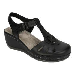Women's Cliffs by White Mountain Francina Closed Toe Sandal Black Burnished Smooth Polyurethane