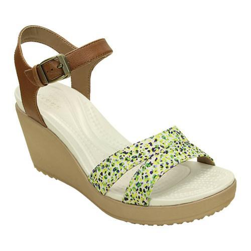 Women's Crocs Leigh II Ankle Strap Graphic Wedge Sandal Hazelnut/Gold