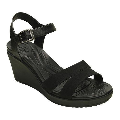 a28c5404864 Shop Women s Crocs Leigh II Ankle Strap Wedge Sandal Black Black - Free  Shipping Today - - 17293023