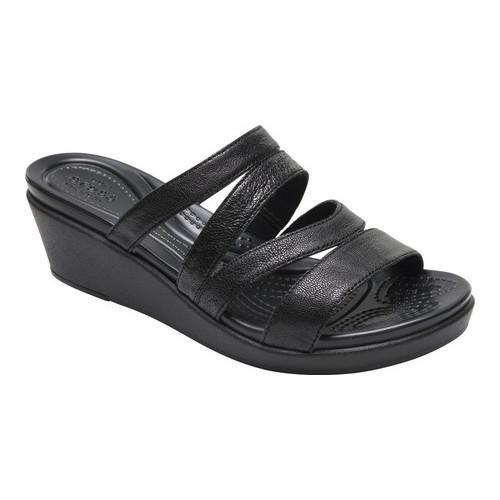 56e68bd715 Shop Women's Crocs LeighAnn Mini Wedge Leather Slide Black - Free Shipping  Today - Overstock - 17293026