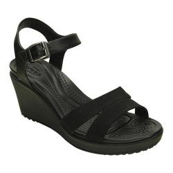 Women's Crocs Leigh II Ankle Strap Wedge Sandal Black/Black