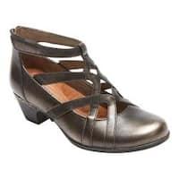 Women's Rockport Cobb Hill Adrina Cross-Strap Low Heel Pewter Leather