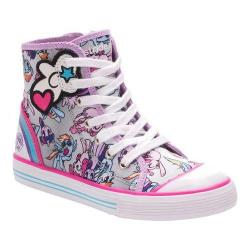Girls' Stride Rite My Little Pony United Friends High Top Silver/Purple Leather/Mesh