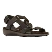 Women's Walking Cradles Score Quarter Strap Sandal Black Patent Lizard Print Leather