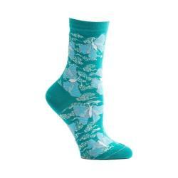 Women's Ozone Origami Butterfly Crew Socks Blue