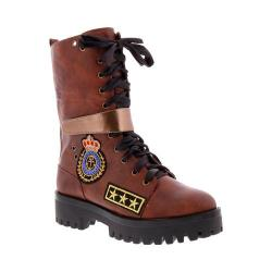 Women's Penny Loves Kenny Nomad Folded Combat Boot Brown Polyurethane