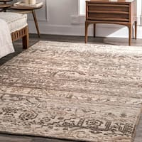 nuLoom Brown Wool Handmade Fancy Serapi Medallion Area Rug (5'0 x 8'0) - 5' x 8'