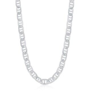 La Preciosa Sterling Silver Italian Rhodium Plated 180 5.8mm Flat Marina Chain