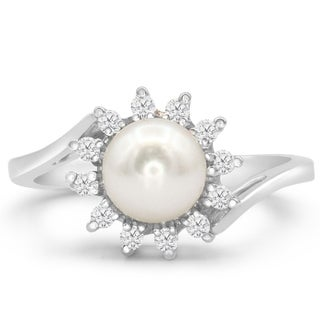 Round Freshwater Cultured Pearl and 1/4ct Halo Diamond Ring In 14 Karat White Gold