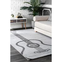 nuLoom Guitar Grey Contemporary Novelty Kids Area Rug (5' x 8')