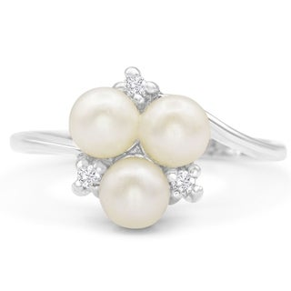 Round Freshwater Cultured Pearl and Diamond Cluster Ring In 14 Karat White Gold