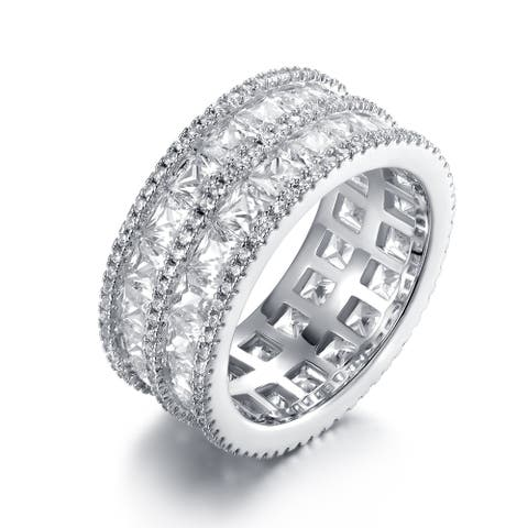 White Rhodium Plated 5-Row Princess-Cut Cubic Zirconia Wide Band Ring