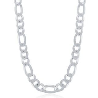 La Preciosa Sterling Silver Italian Rhodium Plated 220 Figaro 8.6 mm Chain