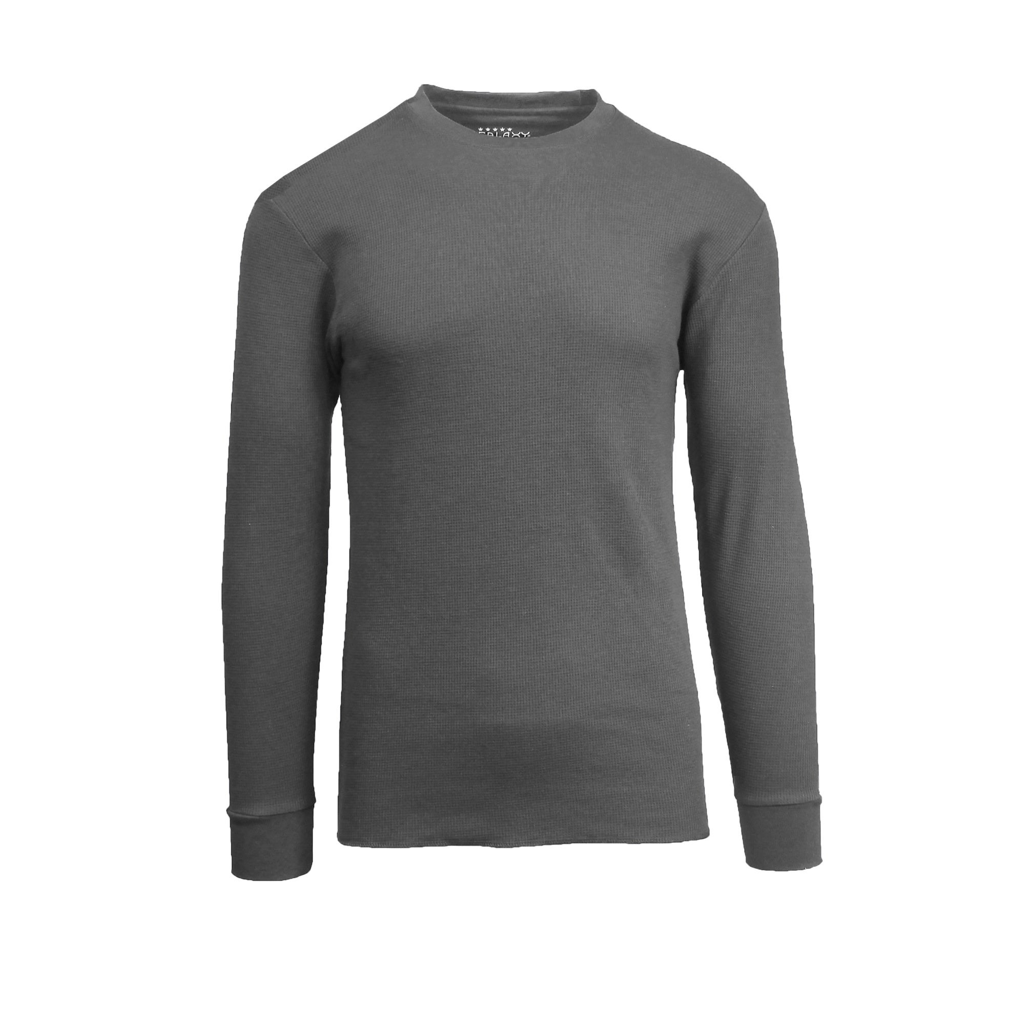 Men/'s Long Sleeve Waffle Thermal Shirt Tee Crew Neck BLACK
