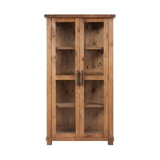 Rustic Brown Wood Country Glass Display Cabinet