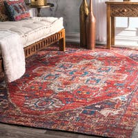 nuLoom Rust Wool/Cotton Traditional Printed Tribal Medallion Rug - 7'6 x 9'6