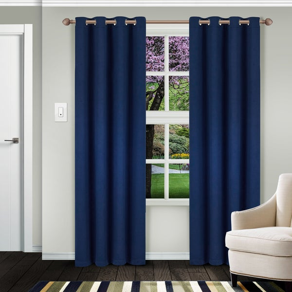 Superior Solid Insulated Thermal Blackout Grommet Curtain Panel Pair. Opens flyout.
