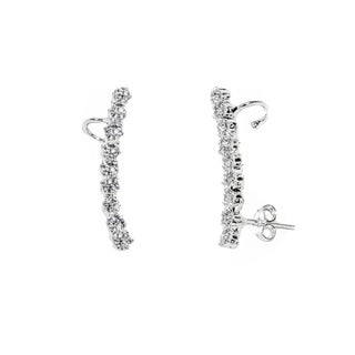 White Gold Plated Cubic Zirconia Ear Cuffs