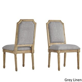 Deana Arched Bridge Linen and Pine Wood Dining Chairs (Set of 2) by iNSPIRE Q Artisan
