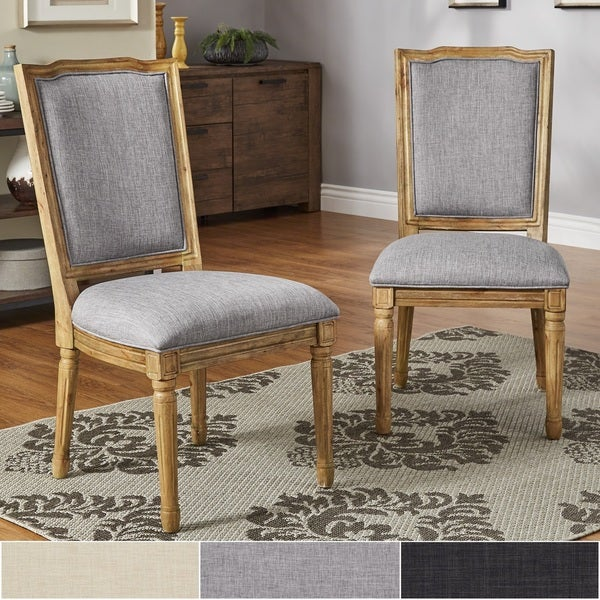 Deana Ornate Linen And Pine Wood Dining Chairs (Set Of 2) By INSPIRE Q
