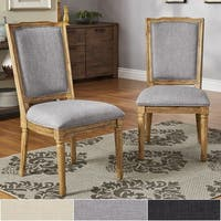 Deana Ornate Linen and Pine Wood Dining Chairs (Set of 2) by iNSPIRE Q Artisan