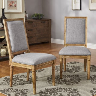 Deana Rectangular Linen and Pine Wood Dining Chairs (Set of 2) by iNSPIRE Q Artisan