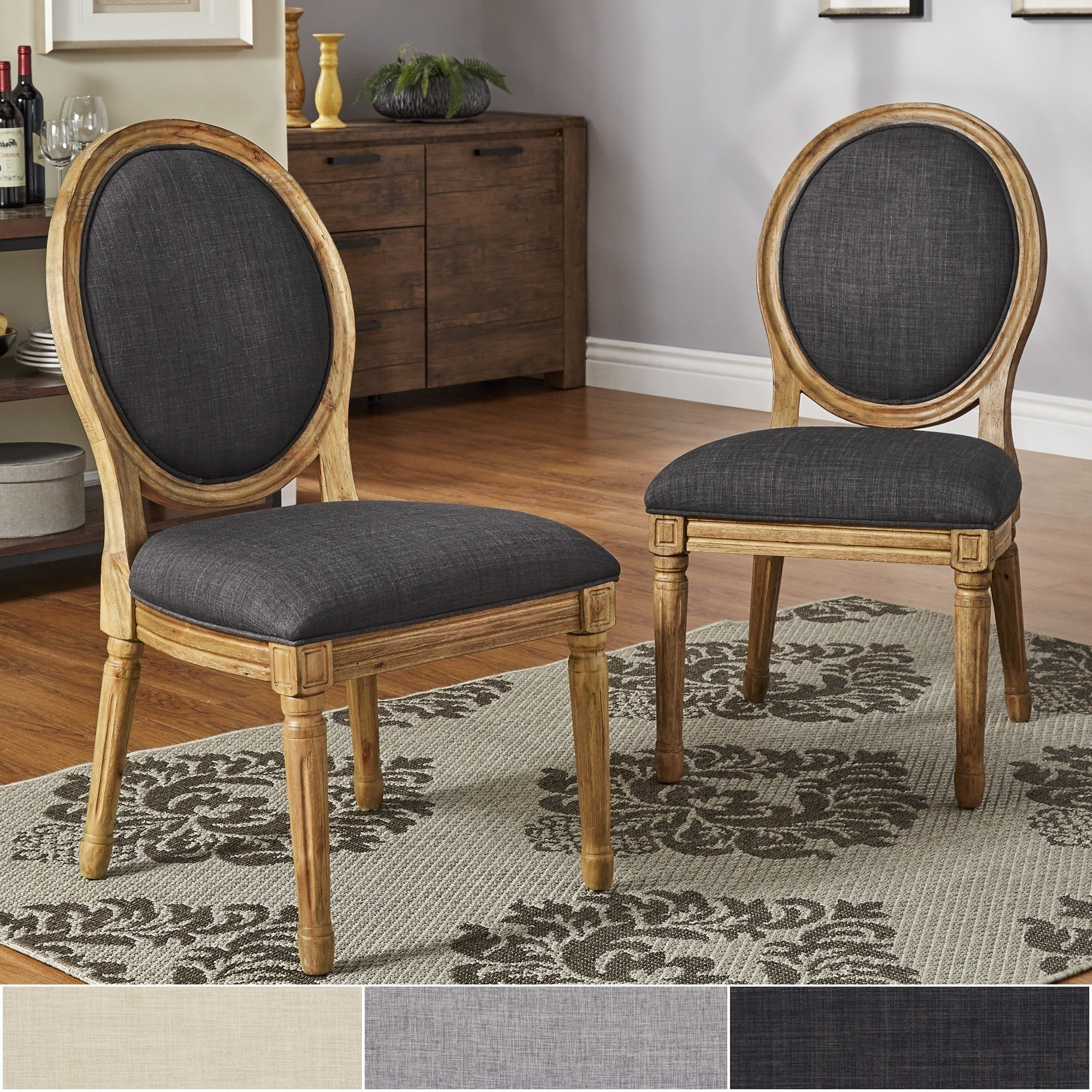 Round Back Dining Room Chairs: Deana Round Back Linen And Pine Wood Dining Chairs (Set Of
