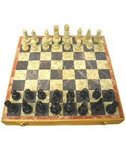 (Set of 2 ) Carved Soapstone 8-inch Chess Sets (India)