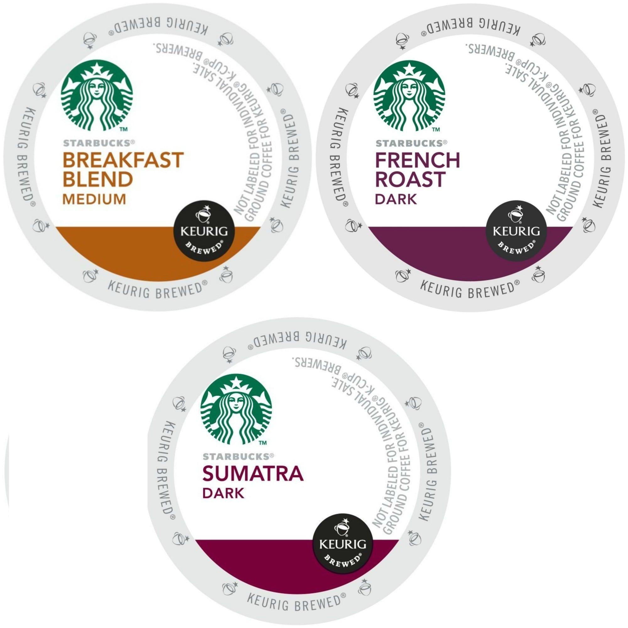 Starbucks Coffee Breakfast Blend, French Roast & Sumatra ...