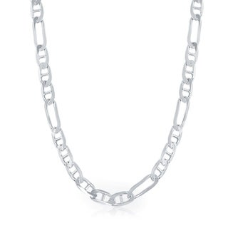 La Preciosa Sterling Silver Italian Rhodium Plated 150 Figaro 6mm Gucci Chain