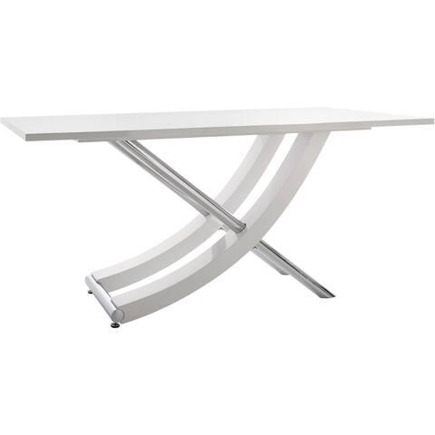 Scandinavian Living Carl High-gloss Chrome Dining Table - White