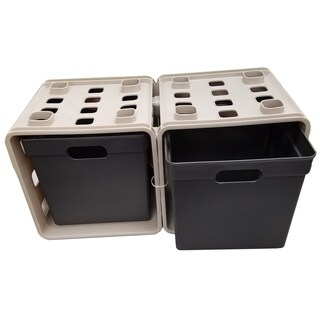 Set of 2 Cube Storage-Beige/Black