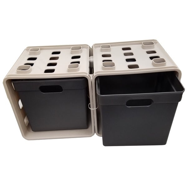 Set of 2 Cube Storage-Beige/Black. Opens flyout.