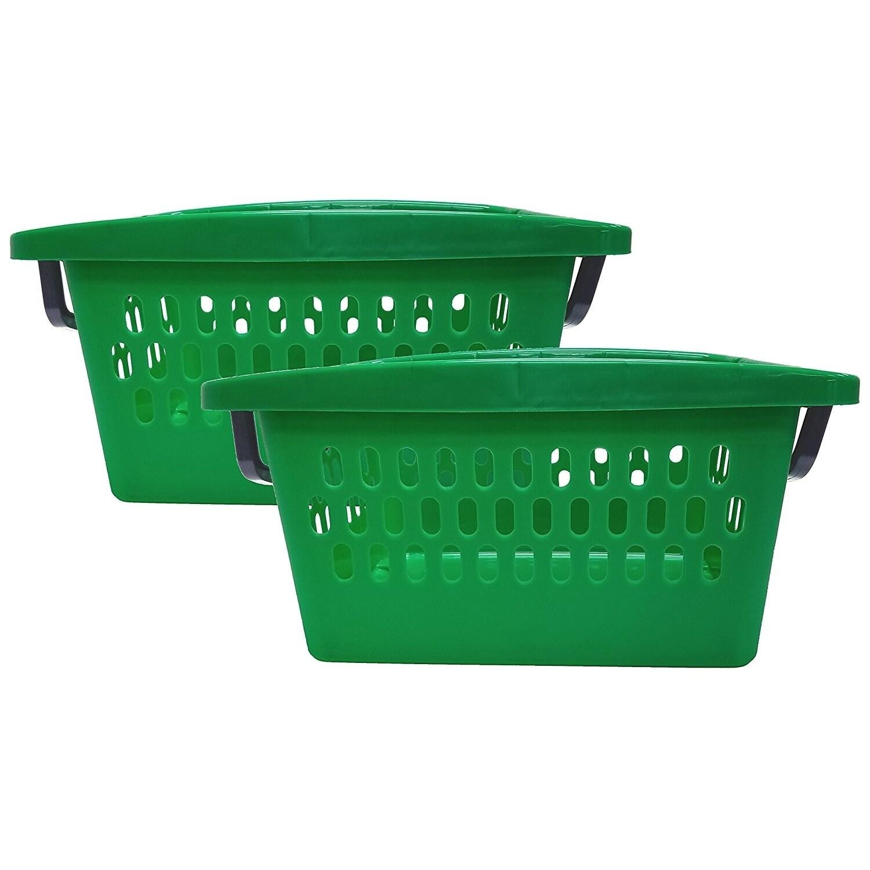 2 Pack Large Stacking Bin-Green, Green (Plastic)