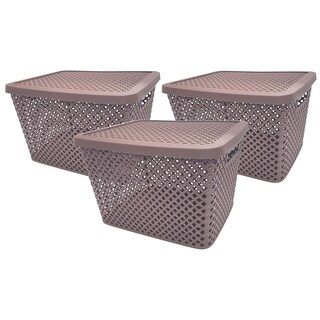 Big Baskets - 3 Pack w/Lids Grey