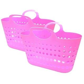 Flex Beach Tote Basket - 2 Pack - Pink